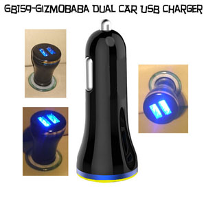 GB159-Gizmobaba 2.1A Dual USB Car Charger with LED