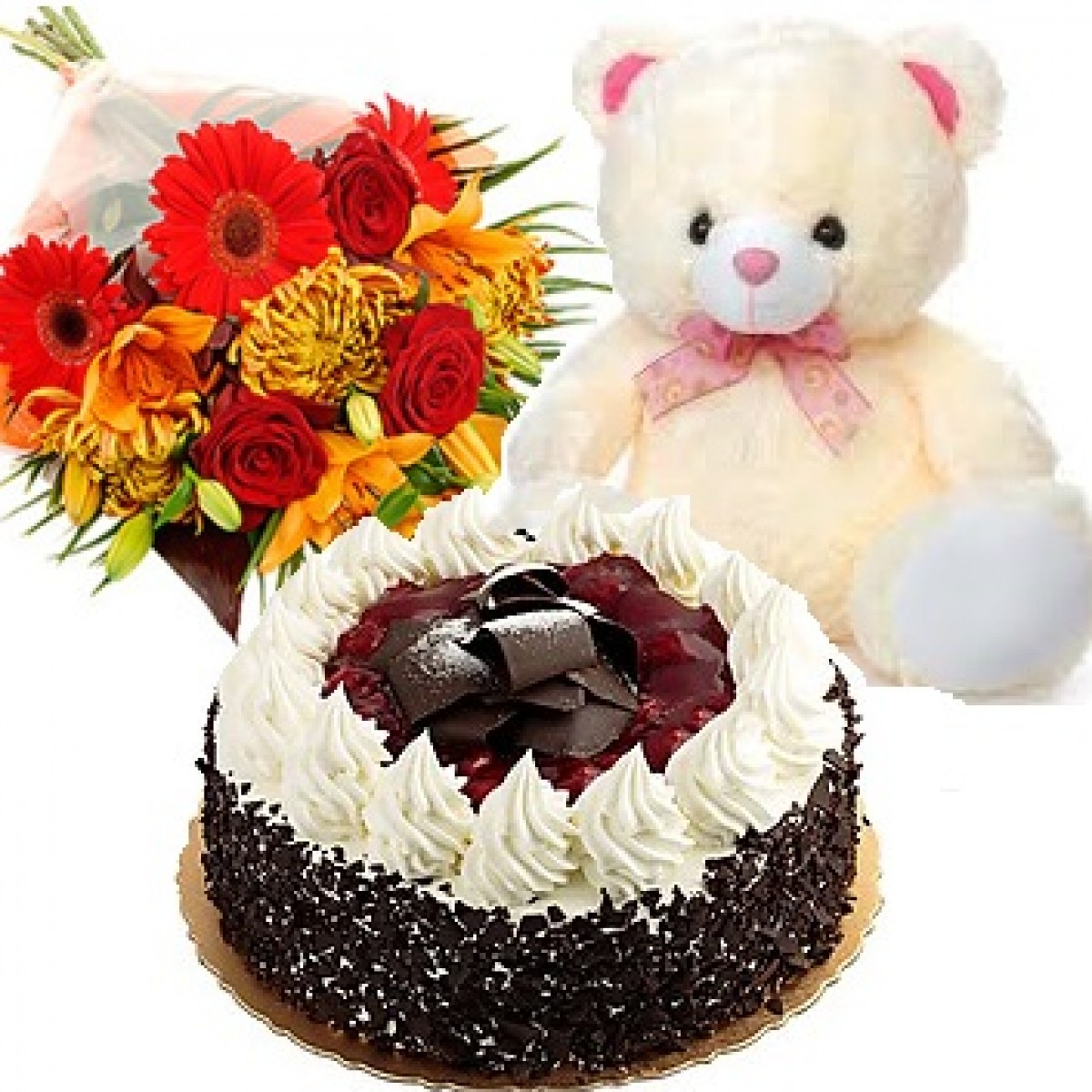 12 mix flowers bunch with cake n teddy izmirmasajfo