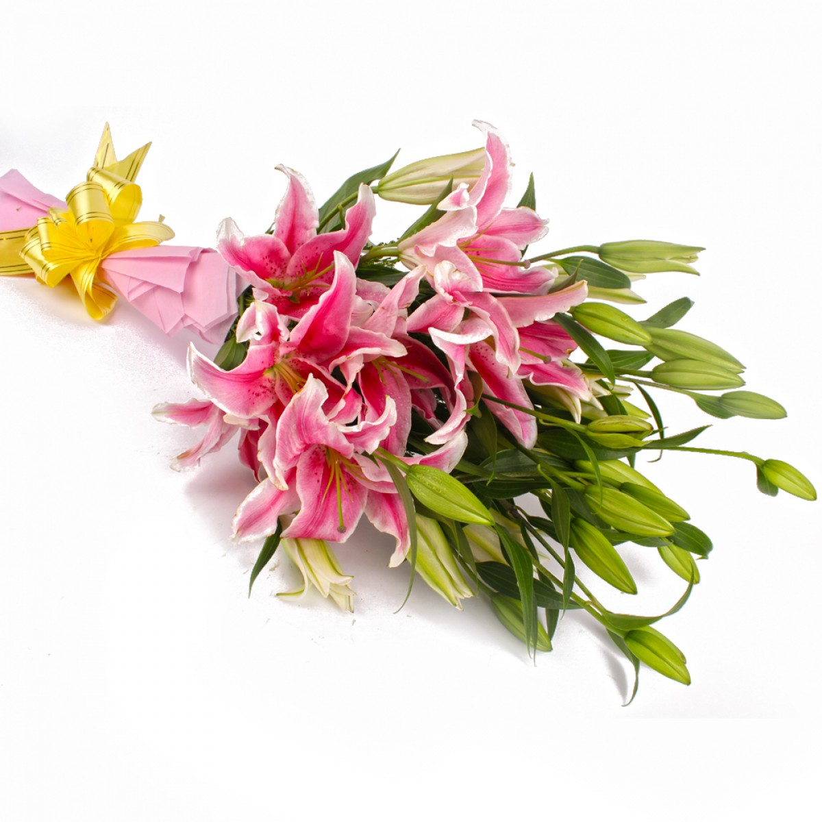 Send Bunch Of 12 Pink Lilies To India