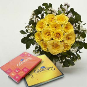 12 Yellow Roses Bouquet and Celebration Chocolates