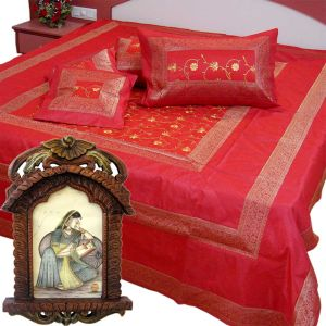 Silk Double Bedcover Set n Get Photoframe Free