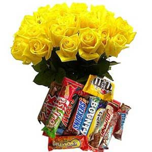 Yellow Roses n 12 Assorted Chocolates