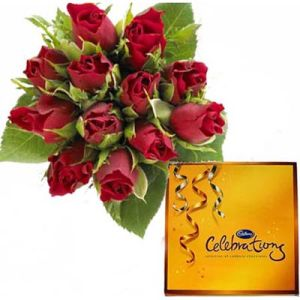 Beautiful 12 Roses n Cadbury Celebration
