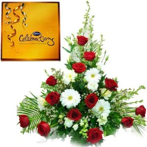 16 Mix Flowers n Cadbury Celebration