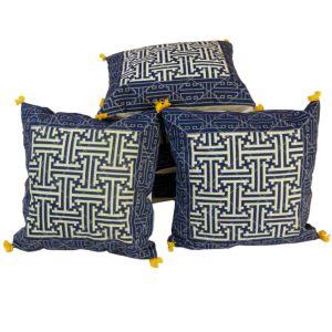 Jaipuri Handblock Gold Print Cushion Cover Set