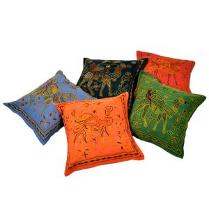 Fine Embroidery Cotton Cushion Cover 5 Pc.