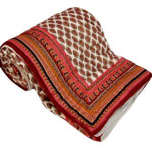 Jaipuri Gold Print Cotton Double Razai Quilt