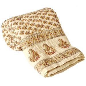HandBlock FloralPrint Double Bed Jaipuri Razai