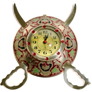 Rajasthani Real Brass Sword Armour Wall Clock