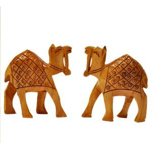 Hand Carved Wooden Camel Pair Handicraft Gift