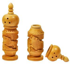 Hand Carved Wooden Salt Pepper Dispenser Gift