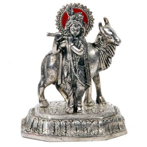 Antique White Metal Lord Krishna with Cow Idol