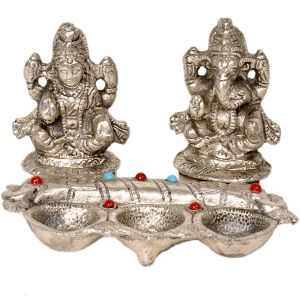 White Metal Lord Laxmi Ganeshas With Diya Set