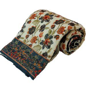 Floral Print Cotton Single Bed Razai Quilt