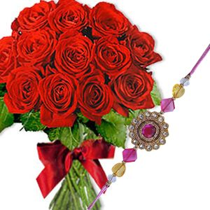 Rakhi with 20 Red Roses Bunch