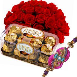 Rakhi with Roses n Chocolates