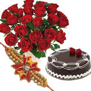 Rakhi with Chocolate Cake n Roses