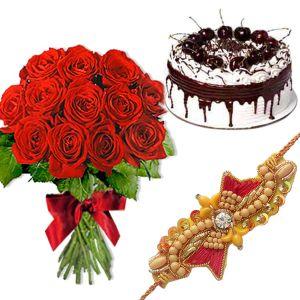 Rakhi with 1 Kg Black Forest Cake n Roses