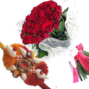 Rakhi with Hand Bunch of Red Roses
