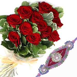 10 Red Roses Bunch with Rakhi