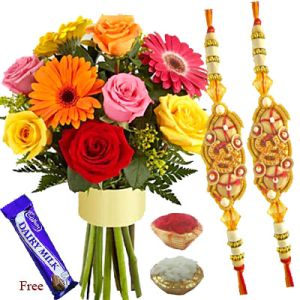 Fancy Rakhis with Mixed Flowers