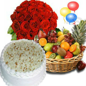 Roses with Fresh Fruits and 1/2Kg Butterscotch Cake