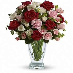 30 pink, red and white roses
