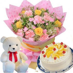 Send Flowers With Cake N Teddy To India - Birthday cake n flowers