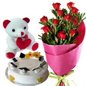 Send Teddy Cake And Roses To India - Birthday cake n flowers