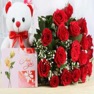 12 Red Roses Bunch, 1 Teddy Bear and Greeting Card
