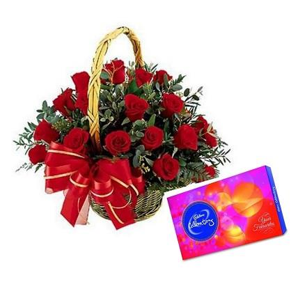 Red Roses Basket with Celebration Pack