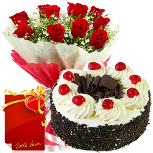 1Kg Black Forest Cake with 12 Red Roses