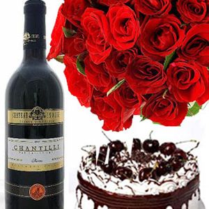 Send Black Forest Cake With Roses N Wine To India - Birthday cake n flowers