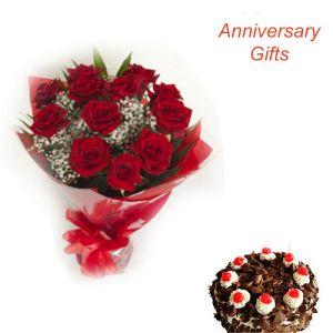 12 Red Roses n 1/2Kg Black Forest Cake