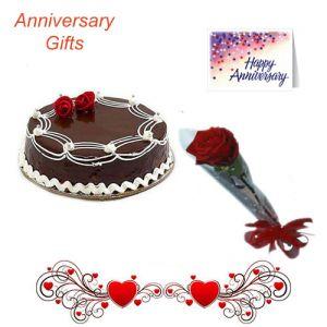 Single Rose n 1/2Kg Chocolate Cake