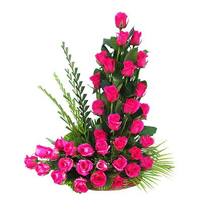 Send flowers to thane onlinebirthday gifts bouquet delivery in basket of 24 pink roses negle Gallery