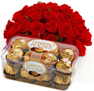 Anniversary gift ideas gift ideas for anniversary wife husband 24 red roses with 16pcs ferrero rocher chocolates negle Choice Image