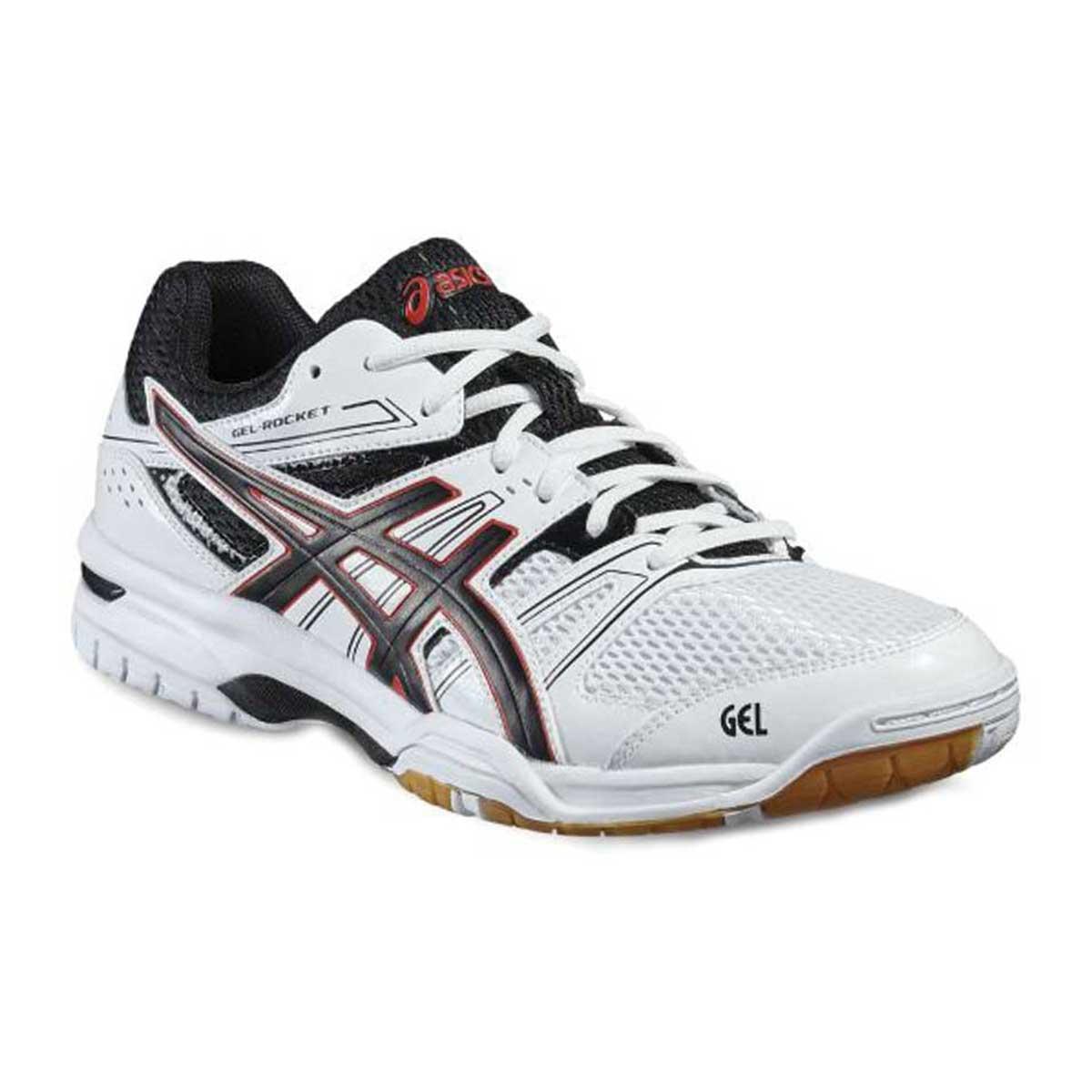 Squash Shoes   Squash   Sports   Buy   Asics   Asics Gel Rocket 7 Indoor Court  Shoes WhiteBlackVermilion