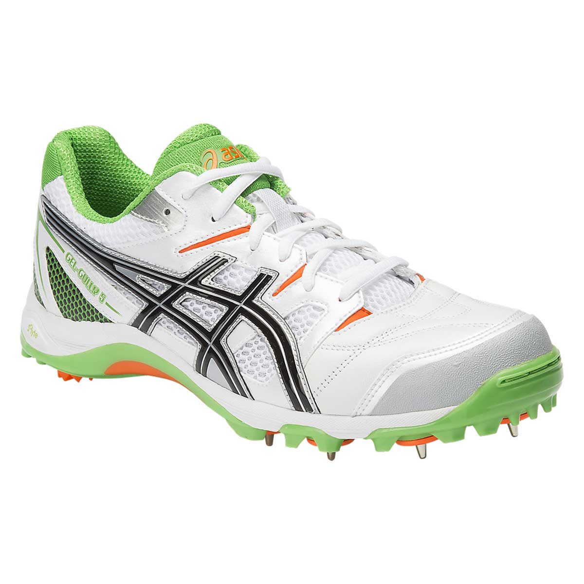 Cricket Shoes, Cricket, Sports, Buy, Asics, Asics Gel Gully 5 Cricket Shoes  (White/Black/Green)