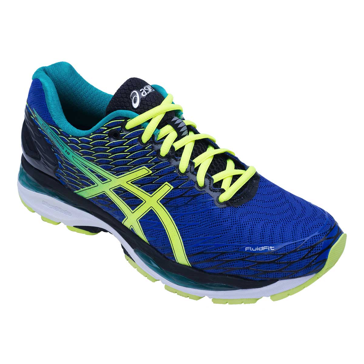 Running Shoes, Running, Buy, Asics, Asics Gel-Nimbus 18 Running Shoes (Blue/Flash  Yellow/Black)