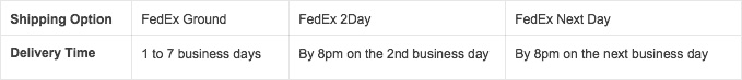 FedEx Shipping Options - No Saturday